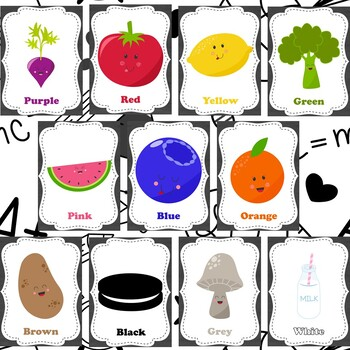 Color Wall Cards - Food themed - White or chalkboard background