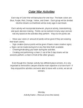 Color War and Field Day PE Activities