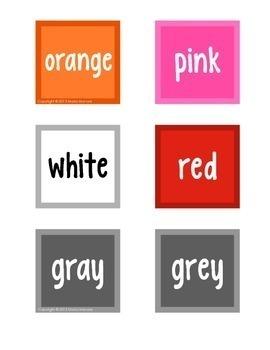 Color Weeks Calendar Reminder Cards for Color Word Study