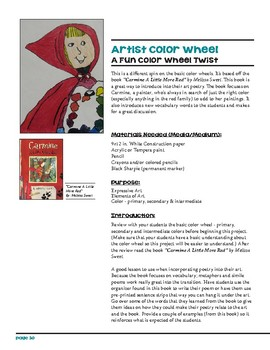 Color Wheel Art Lesson - primary, secondary and/or intermediate, elements of art