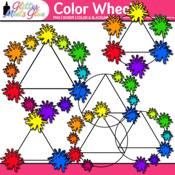 Color Wheel Clip Art | Lesson Ideas for Color Theory, Paint Splashes and Blobs