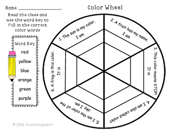 Color Wheel Color Words By Just A Simple Teacher Tpt