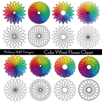 Color Wheel Flower Clipart By Scrapster By Melissa Held Designs Tpt