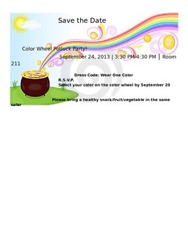 Color Wheel Potluck Party Invitation By The Classroom By Hera Tpt
