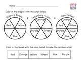 Color Wheel Worksheet with Primary, Secondary, Warm, Cool, and Rainbow Order