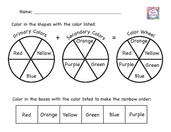 Color Wheel Worksheet with Primary, Secondary, Warm, Cool, and ...