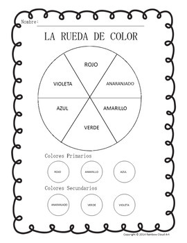 Color Wheel Mixing Worksheets In English And Spanish