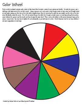 Spanish Color Wheel and Activities