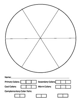 Color Wheel worksheet- primary, secondary, cool, warm and complementary