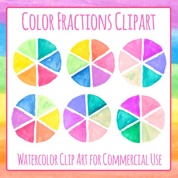 Color Wheels / Handpainted Watercolor Spinners / Sixths Clip Art Set