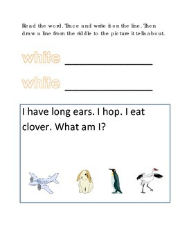 Color White Reading Riddles Word Clues Emergent Reader Interactive What am I