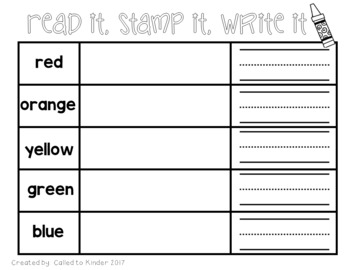 Color Word Activities {stamp a word; word building}