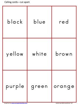 Color Word Bingo-Thanksgiving
