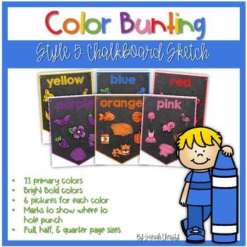 Color Word Bunting- Set 5 Chalkboard & Sketch Font