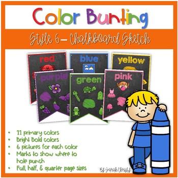 Color Word Bunting- Set 6 Chalkboard & Sketch Font