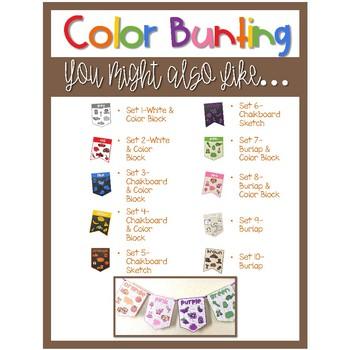 Color Word Bunting- Set 8 Burlap & Color Block
