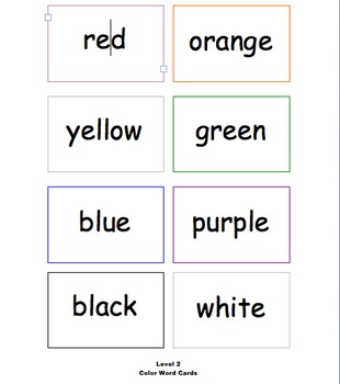 Color Word Card Sets:  Early Learners and Students with Autism