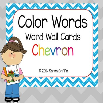 Color Words - Word Wall Cards ~ Chevron ~
