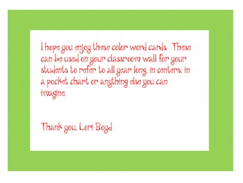 Color Word Cards for Bulletin Board