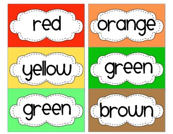 Color Words for Word Wall