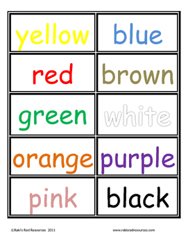 Color Word Cards for Your Word Wall