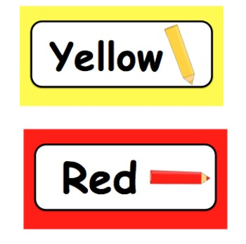 Color Word Cards with Clip Art