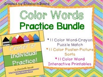 Color Word Center Activities Practice Bundle