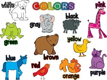 Color Word Chart Poster Brown Bear Friends
