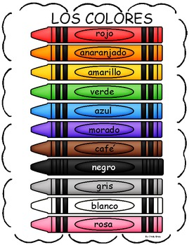Color Word Chart in Spanish