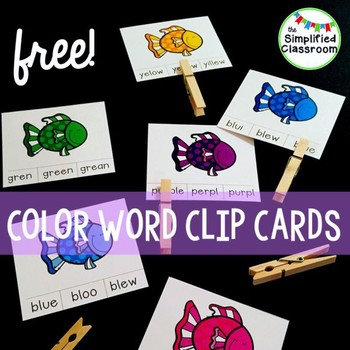 Color Word Clip Cards {FREEBIE!}