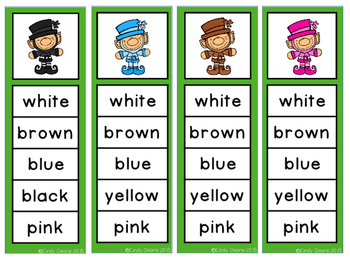 Leprechauns Color Word Clip Strips