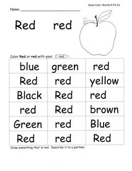 Color Word Colors Speaking Listening Writing from Text with Lesson Plans!
