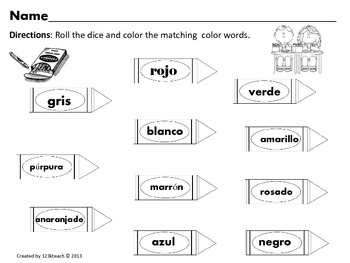 Color Word Crayons~Activities and Posters in English and Spanish