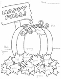 Color Word Fall Pumpkin Coloring Page