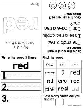 Color Words Fluency Books {freebie}