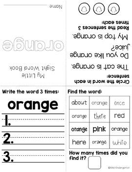 Sight Words Fluency Books {color words freebie}