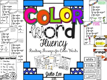 Color Word Fluency {Reading Passages and Games for Kindergarten}