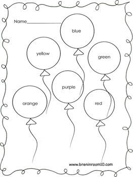 Color Word Balloon Freebie CCSS RF.K.3c