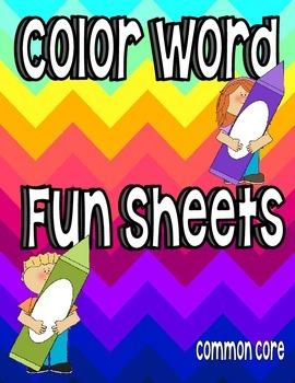 Color Word Fun Sheets--Common Core