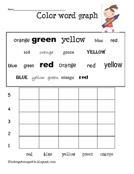 Color Word Graph by Kindergarten Sparkles | Teachers Pay Teachers