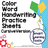 Color Word Handwriting Practice - Cursive Version