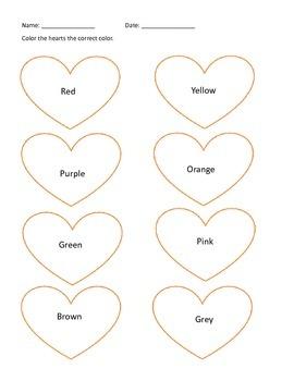 Color Word Hearts
