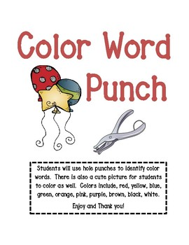 Color Word Hole Punch Activity