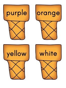 Color Word Ice Cream Activity