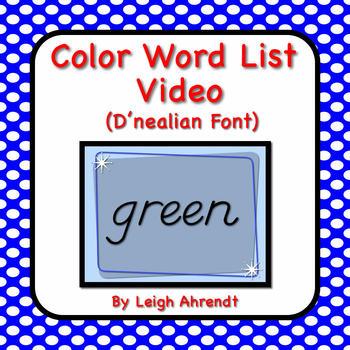 Color Word List Video (D'nealian font)