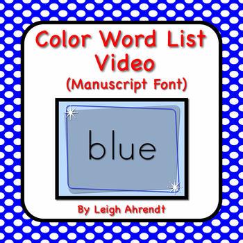 Color Word List Video (Manuscript font)