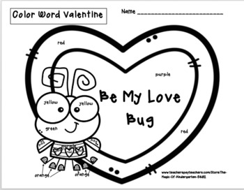 Color Word Love Bug Valentine~Worksheet