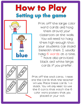 Color Word JUST MOVE! (A Get Up and Move Around the Classroom Game)