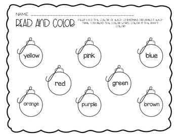 Color Word Ornaments