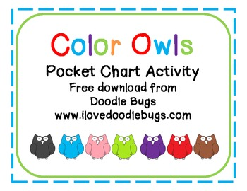 Color Word Owl Match * free download * pocket chart activity